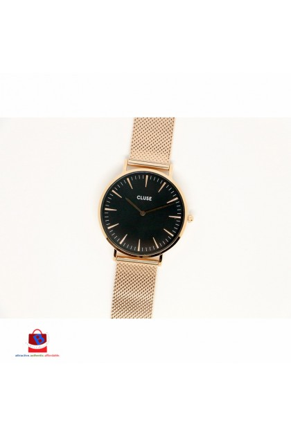 CL18113 Cluse La Bohème Mesh Rose Gold/Black Ladies Watch