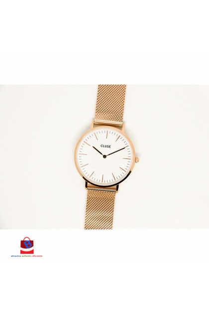 CL18112 Cluse La Bohème Mesh Rose Gold/White Ladies Watch