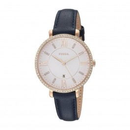 FOSSIL ES4291 Jacqueline Three-Hand Date Navy Leather Ladies Watch