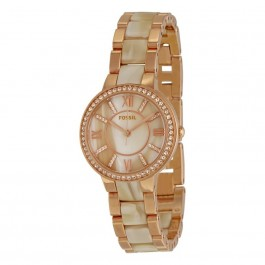FOSSIL ES3716 Virginia Rose-Tone and Horn Acetate Stainless Steel Watch