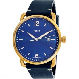 FOSSIL FS5274 The Commuter Three-Hand Date Blue Leather Watch