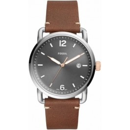 FOSSIL FS5417 The Commuter Three-Hand Date Light Brown Leather Watch