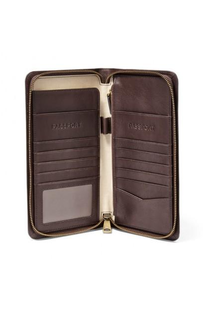 Fossil Men's Multi Zip Passport Case Dark Brown MLG0334201