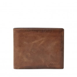 Fossil Men's Derrick RFID Large Coin Pocket Bifold Wallet Brown ML3687200