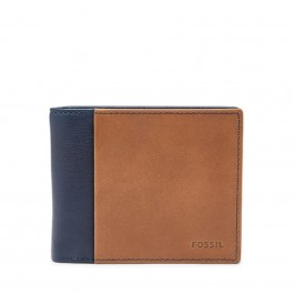 Fossil Men's RFID Flip ID Bifold Wallet Navy ML3918400