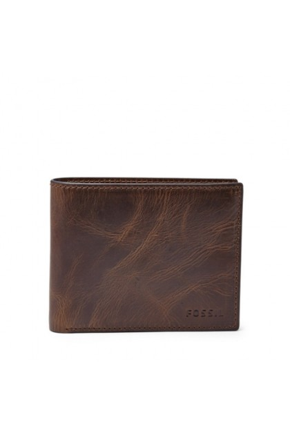 Fossil Men's Rfid Flip ID Bifold Wallet- Dark Brown ML3681201