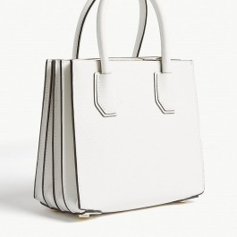Michael Kors Mercer Medium Pebbled Leather Crossbody Bag - White 30F8GM9M2T-085