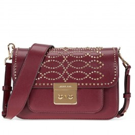 Michael Kors Sloan Studded Leather Shoulder Bag - Oxblood 30F8GS9L3U-610