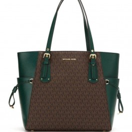 Michael Kors Voyager East West Tote Brown/Racing Green 30F8GV6T4B-305