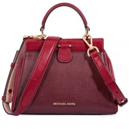 Michael Kors Gramercy Frame Top Handle Color-Block Leather Satchel Bag, Oxblood Soft Pink Maroon-30F8GZ6S1T-921
