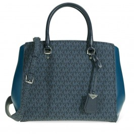 Logo print with signature Michael Kors Benning Tote Bag-Blue 30F8SN4S3B-489