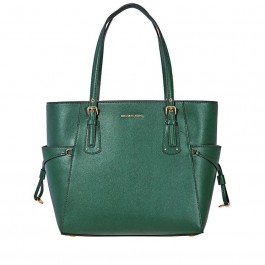 Michael Kors Voyager Textured Crossgrain Leather Tote - Racing Green 30H7GV6T9L-305