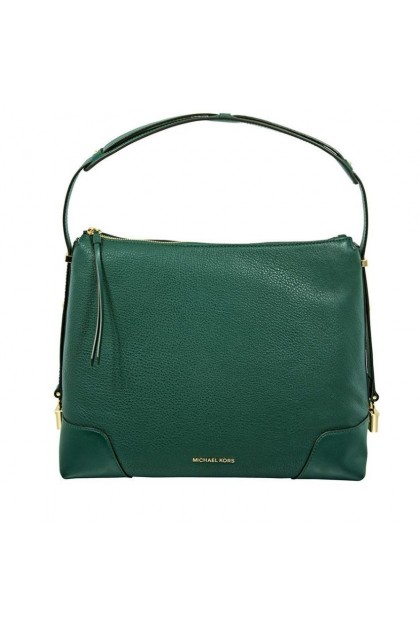 Michael Kors Crosby Large Pebbled Leather Shoulder Bag - Racing Green 30H8GCBL3L-305