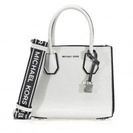 Michael Kors Mercer Pebbled Leather Messenger Bag - White / Black 30H8SM9M3T-089