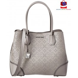 Michael Kors Mercer Gallery Perforated Floral Tote Medium - Pearl Grey 30H8SZ5T6T-081