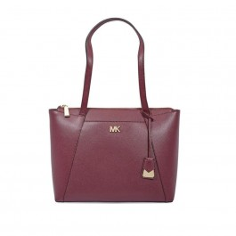Michael Kors Maddie Medium East/West Leather Tote- Oxblood 30S8GN2T2L-610