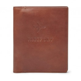 Fossil Passport Case Leather RFID Wallet Cognac MLG0358222