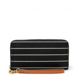 Fossil Logan Rfid Zip Around Clutch Wallet Black/White SL7828005