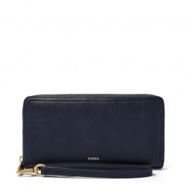 Fossil Logan Rfid Zip Around Clutch Wallet Midnight Navy SL7831406