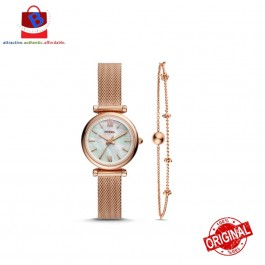 Fossil ES4443SET Carlie Mini Three-Hand Rose Gold-Tone Stainless Steel Watch And Bracelet Box Set