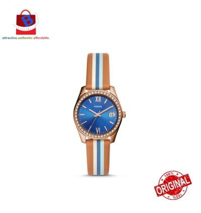 Fossil Women's ES4591 SCARLETTE Mini Three-Hand Date Strioed Tan Watch