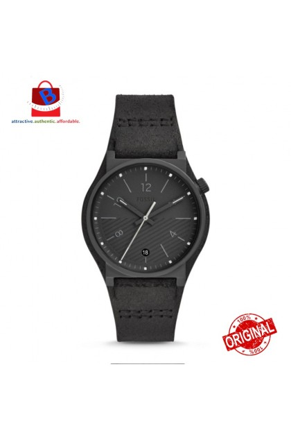 Fossil Men's FS5511 BARSTOW Three-Hand Black Leather Watch