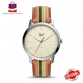 Fossil Man's FS5559 Minimalist Three-Hand Striped TAN Leather Watch