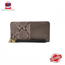 Fossil Women's Logan Rfid Zip Clutch Wallet Taupe Snake/Black SL7936889