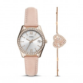 Fossil ES4607SET Scarlette Mini Three-Hand Date Blush Leather Watch And Bracelet Box Set