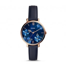 Fossil ES4673 Jacqueline Three-Hand Navy Leather Watch