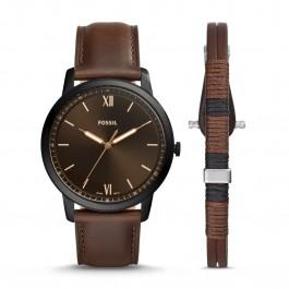 Fossil FS5557SET Minimalist Three-Hand Brown Leather Watch Aand Braceket Box Set