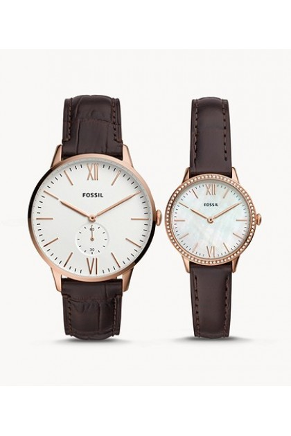 Fossil FS5564SET His And Her Three-Hand Brown Leather Box Set