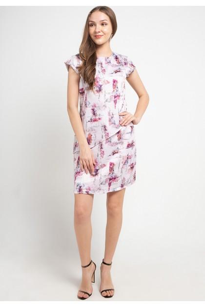 Sophistix Arya Dress In Pink Grey Print