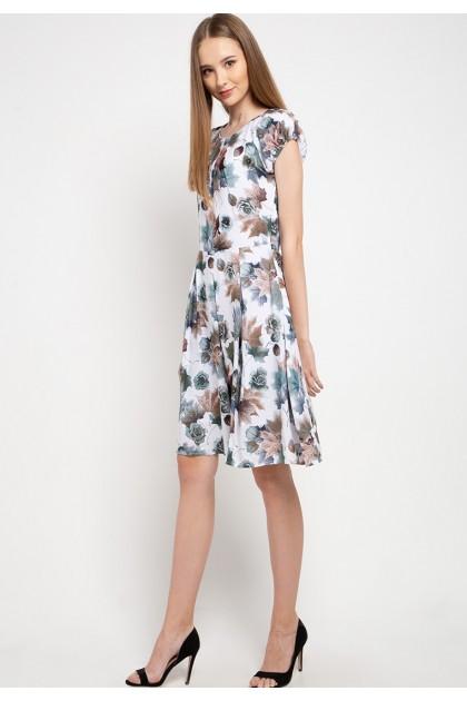 Sophistix Eliza Dress In Off White Blue Rose Floral Print