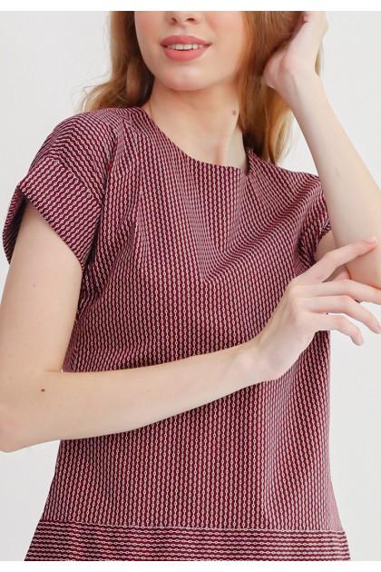 Sophistix Livia Dress In Maroon White Stripes