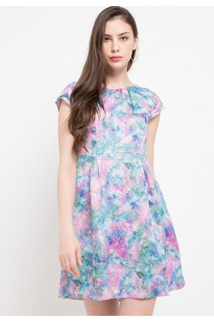 Sophistix Delia Dress In Blue Print