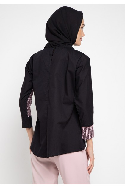 Azzar Deeve Blouse In Black And Maroon