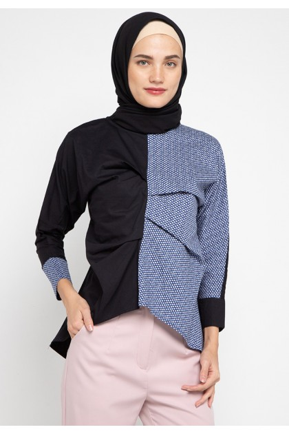 Azzar Deeve Blouse In Black And Navy