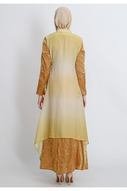 Azzar Elakshi Maxi Dress With Shaded Vest In Yellow Glitter