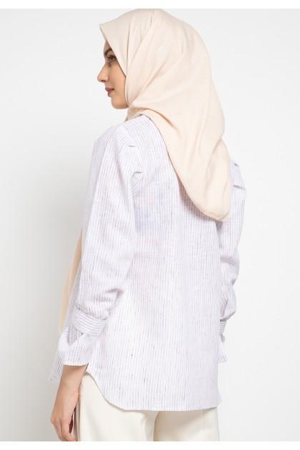 Azzar Kaya Blouse In White Stripes