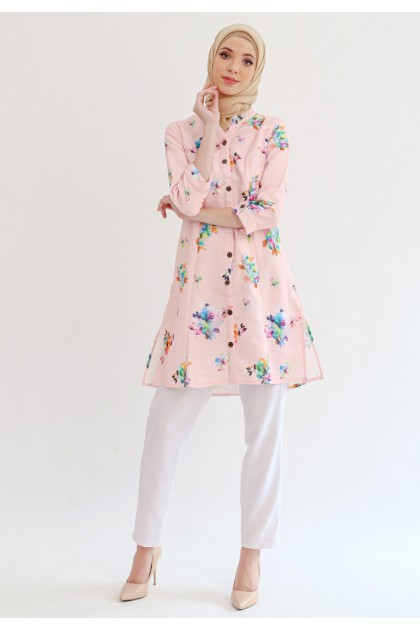Azzar Lexia Tunic In Pink Floral Print