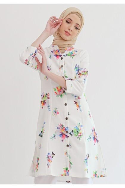 Azzar Lexia Tunic In White Floral Print