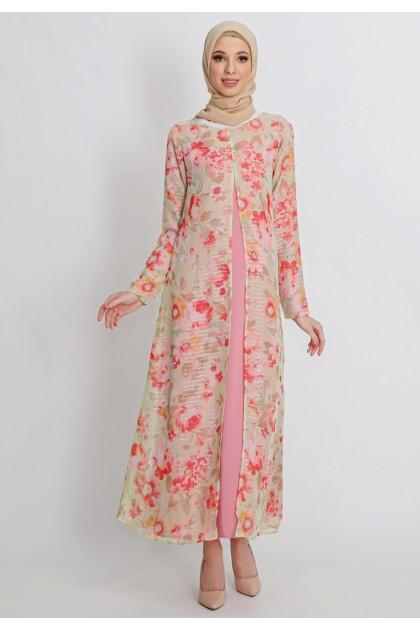 Azzar Meera Maxi Dress in Peach Floral