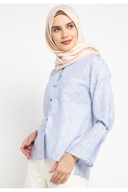 Azzar Remi Blouse In Blue Stripes