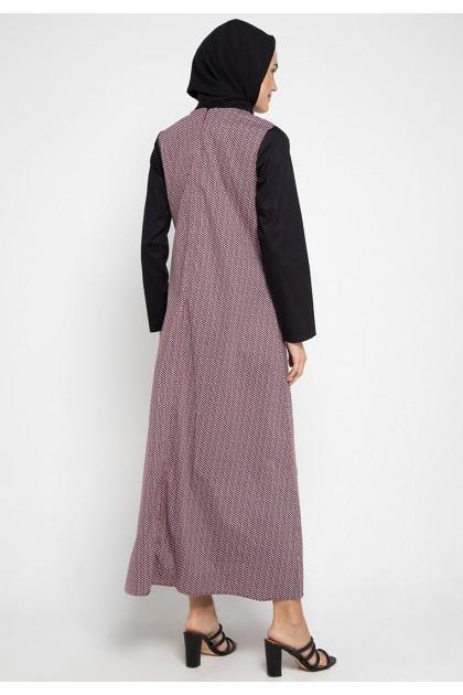 Azzar Tula Maxi Dress In Maroon Print