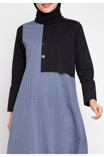 Azzar Tula Maxi Dress In Navy Print