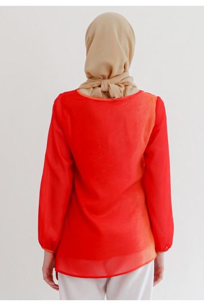 Azzar Vani Asymmetrical Blouse In Red Shaded Glitter