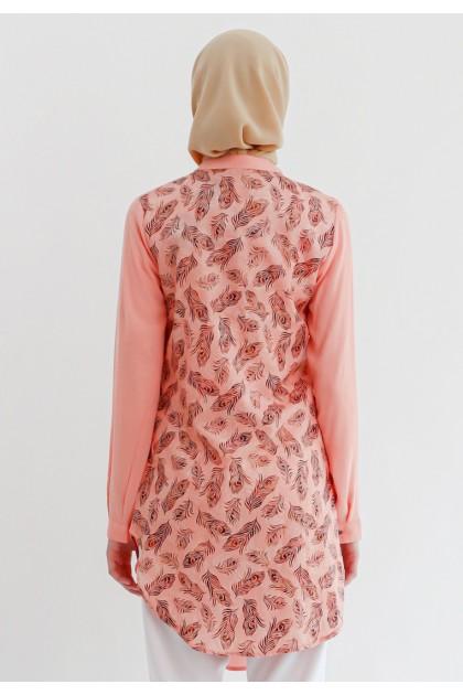 Azzar Vara Asymmetrical Tunic In Peach