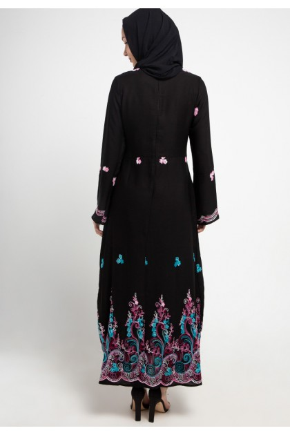 Azzar Zel Maxi Dress In Black With Blue Pink Embroidery
