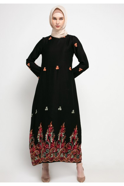 Azzar Zel Maxi Dress In Black With Green Red Embroidery